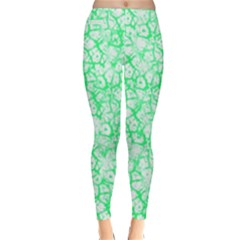 Officially Sexy Mint & White Cracked Pattern Winter Leggings  by OfficiallySexy