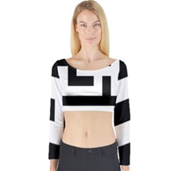 Black And White Long Sleeve Crop Top by timelessartoncanvas
