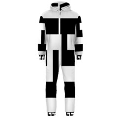 Black And White Hooded Jumpsuit (men)  by timelessartoncanvas