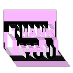 Black And Pink Thank You 3d Greeting Card (7x5)  by timelessartoncanvas