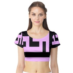 Black And Pink Short Sleeve Crop Top (tight Fit) by timelessartoncanvas