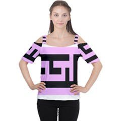 Black And Pink Women s Cutout Shoulder Tee by timelessartoncanvas