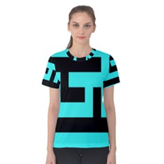 Black And Teal Women s Cotton Tee by timelessartoncanvas