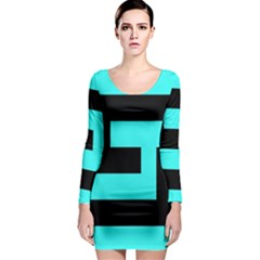 Black And Teal Long Sleeve Bodycon Dress by timelessartoncanvas