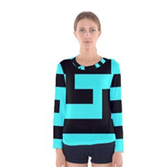Black And Teal Women s Long Sleeve Tee by timelessartoncanvas