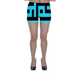 Black And Teal Skinny Shorts by timelessartoncanvas