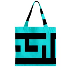 Black And Teal Zipper Grocery Tote Bag by timelessartoncanvas