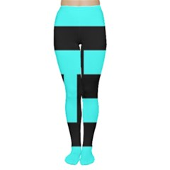 Black And Teal Women s Tights by timelessartoncanvas