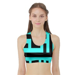 Black And Teal Women s Sports Bra With Border by timelessartoncanvas