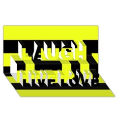 Black And Yellow Laugh Live Love 3d Greeting Card (8x4)  by timelessartoncanvas