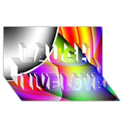 Psychedelic Design Laugh Live Love 3d Greeting Card (8x4)  by timelessartoncanvas