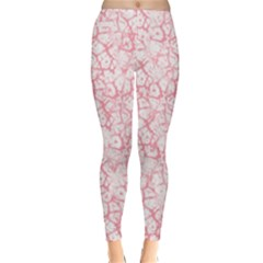 Officially Sexy Peachy Pink & White Cracked Pattern Winter Leggings  by OfficiallySexy