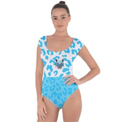 Wild Turquoise Short Sleeve Leotard (ladies) by SalonOfArtDesigns