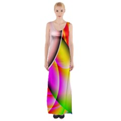 Colorful 1 Maxi Thigh Split Dress by timelessartoncanvas