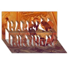 Vintage Ladies Artwork Orange Happy Birthday 3d Greeting Card (8x4)