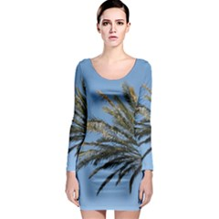 Tropical Palm Tree  Long Sleeve Bodycon Dress by BrightVibesDesign