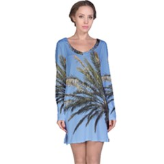 Tropical Palm Tree  Long Sleeve Nightdress by BrightVibesDesign