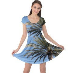 Tropical Palm Tree  Cap Sleeve Dresses by BrightVibesDesign