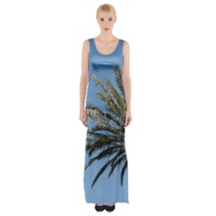 Tropical Palm Tree  Maxi Thigh Split Dress by BrightVibesDesign