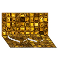 Glossy Tiles, Golden Twin Heart Bottom 3d Greeting Card (8x4)  by MoreColorsinLife