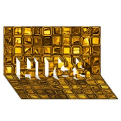 Glossy Tiles, Golden Hugs 3d Greeting Card (8x4)