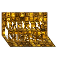 Glossy Tiles, Golden Merry Xmas 3D Greeting Card (8x4)  by MoreColorsinLife