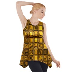 Glossy Tiles, Golden Side Drop Tank Tunic by MoreColorsinLife