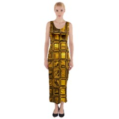 Glossy Tiles, Golden Fitted Maxi Dress