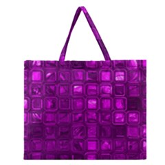 Glossy Tiles,purple Zipper Large Tote Bag