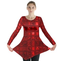 Glossy Tiles,red Long Sleeve Tunic  by MoreColorsinLife