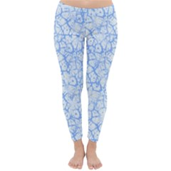Officially Sexy Powder Blue & White Cracked Pattern Winter Leggings  by OfficiallySexy