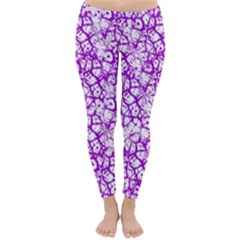 Officially Sexy Purple & White Cracked Pattern Winter Leggings