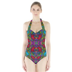 May Your Wonderful Dreams Come True In Fauna   Women s Halter One Piece Swimsuit by pepitasart