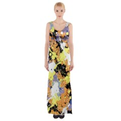 Abstract #9 Maxi Thigh Split Dress by Uniqued