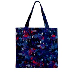 Abstract Floral #3 Zipper Grocery Tote Bag by Uniqued