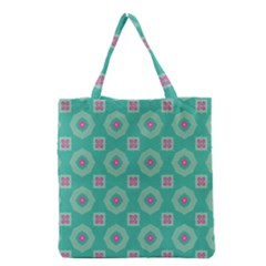 Pink Flowers And Other Shapes Pattern  Grocery Tote Bag by LalyLauraFLM