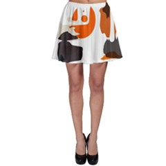 Shapes In Retro Colors On A White Background Skater Skirt