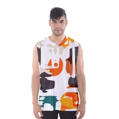 Shapes in retro colors on a white background Men s Basketball Tank Top by LalyLauraFLM