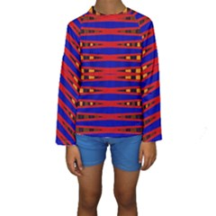 Bright Blue Red Yellow Mod Abstract Kid s Long Sleeve Swimwear by BrightVibesDesign