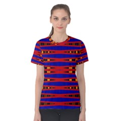 Bright Blue Red Yellow Mod Abstract Women s Cotton Tee by BrightVibesDesign