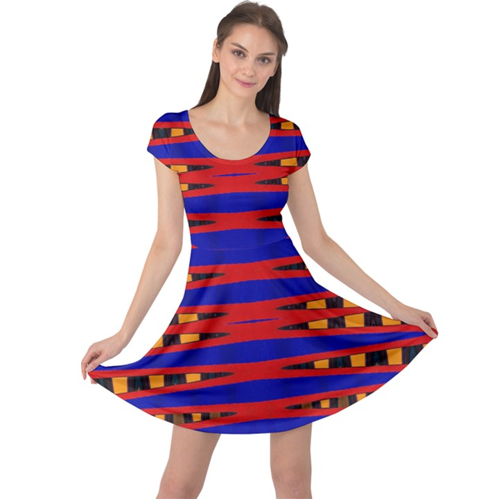 Bright Blue Red Yellow Mod Abstract Cap Sleeve Dresses