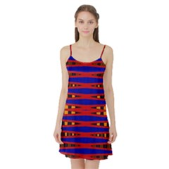 Bright Blue Red Yellow Mod Abstract Satin Night Slip