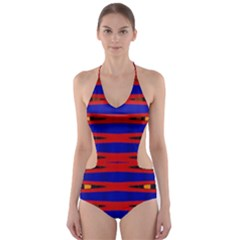 Bright Blue Red Yellow Mod Abstract Cut Out One Piece Swimsuit
