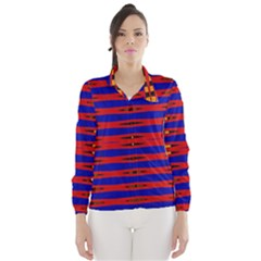 Bright Blue Red Yellow Mod Abstract Wind Breaker (women)