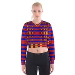 Bright Blue Red Yellow Mod Abstract Women s Cropped Sweatshirt