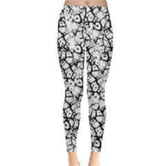 Officially Sexy White & Black Cracked Pattern Winter Leggings  by OfficiallySexy