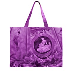 Vintage Purple Lady Cameo Large Tote Bag by BrightVibesDesign