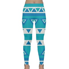 Blue triangles and stripes  Yoga Leggings by LalyLauraFLM