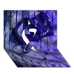 Blue Theater Drama Comedy Masks Ribbon 3D Greeting Card (7x5)
