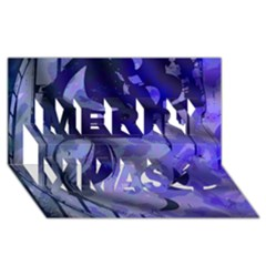Blue Theater Drama Comedy Masks Merry Xmas 3D Greeting Card (8x4)